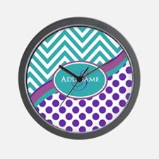 Teal Violet Chevron Dots Personalized Wall Clock