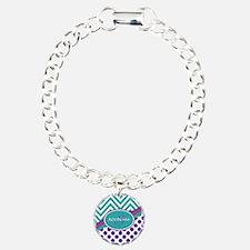 Teal Violet Chevron Dots Bracelet