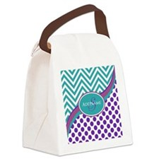 Teal Violet Chevron Dots Personal Canvas Lunch Bag