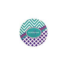 Teal Violet Chevron Dots Per Mini Button (10 pack)