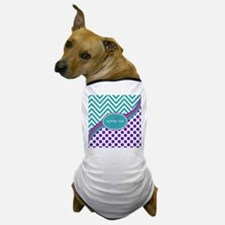 Teal Violet Chevron Dots Personalized Dog T-Shirt