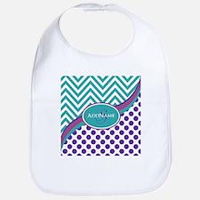 Teal Violet Chevron Dots Personalized Bib