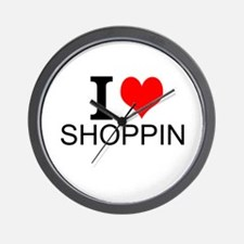 I Love Shopping Wall Clock