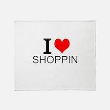 I Love Shopping Throw Blanket