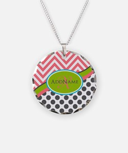 Coral Grey Lime Chevron Dots Necklace