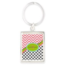 Coral Grey Lime Chevron Dots Mon Portrait Keychain