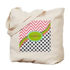 Coral Grey Lime Chevron Dots Monogram Tote Bag