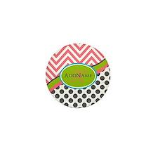 Coral Grey Lime Chevron Dots Mini Button (10 pack)