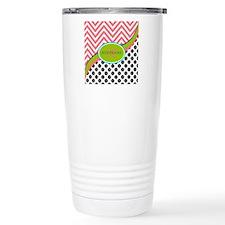 Coral Grey Lime Chevron Travel Mug