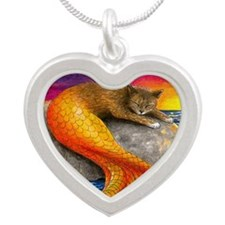 Cat Mermaid 30 Silver Heart Necklace