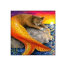 "Cat Mermaid 30 Square Sticker 3"" x 3"""