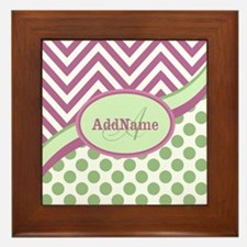 Mint Pink Chevron Dots Personalized Framed Tile