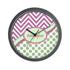 Mint Pink Chevron Dots Personalized Wall Clock