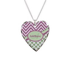 Mint Pink Chevron Dots Person Necklace