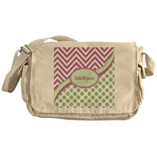 Mint Pink Chevron Dots Personalized Messenger Bag