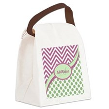 Mint Pink Chevron Dots Personaliz Canvas Lunch Bag