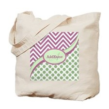 Mint Pink Chevron Dots Personalized Tote Bag
