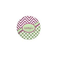 Mint Pink Chevron Dots Perso Mini Button (10 pack)
