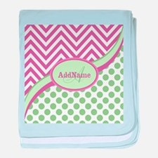 Mint Pink Chevron Dots Personalized baby blanket