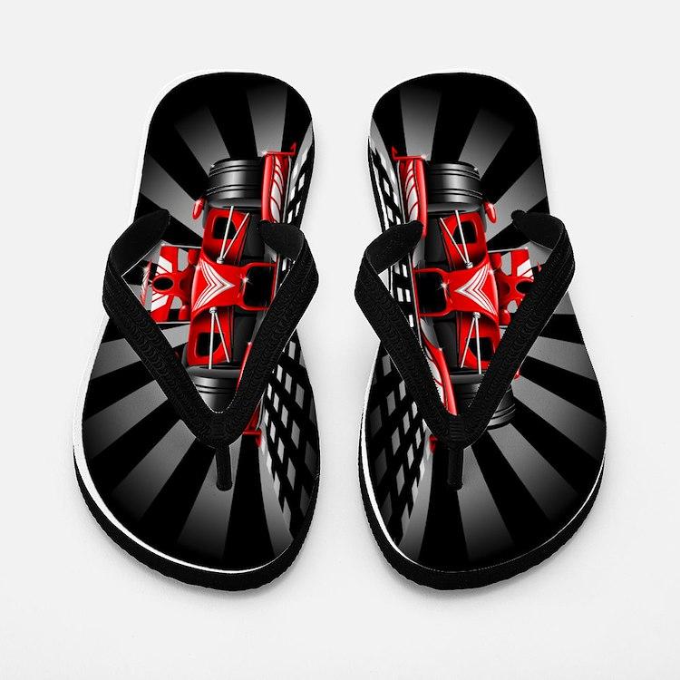 Formula 1 Red Race Car Flip Flops