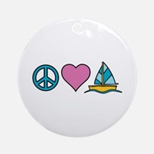 Peace Heart Sailing Ornament (Round)