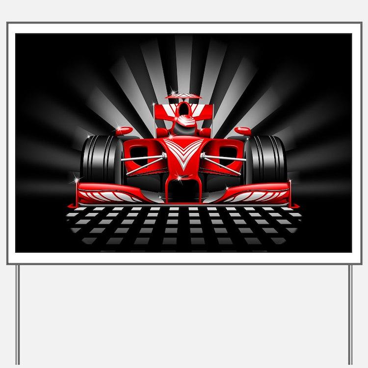 Formula 1 Red Race Car Yard Sign