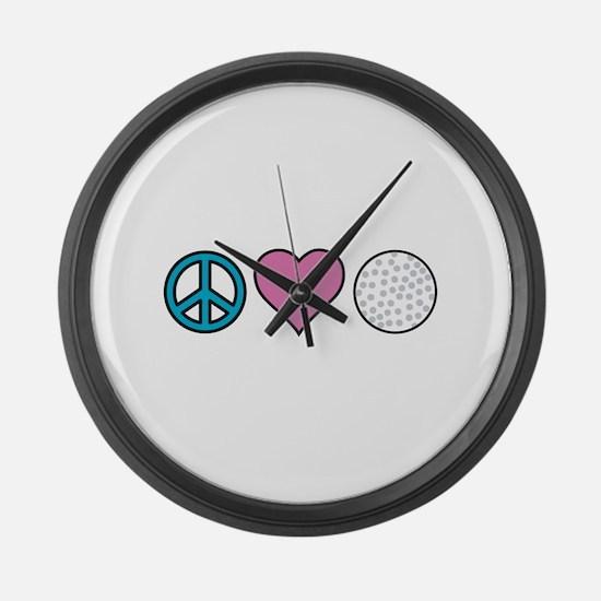 Peace Heart Golf Large Wall Clock