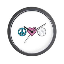 Peace Heart Golf Wall Clock