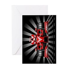 Formula 1 Red Race Car Greeting Cards