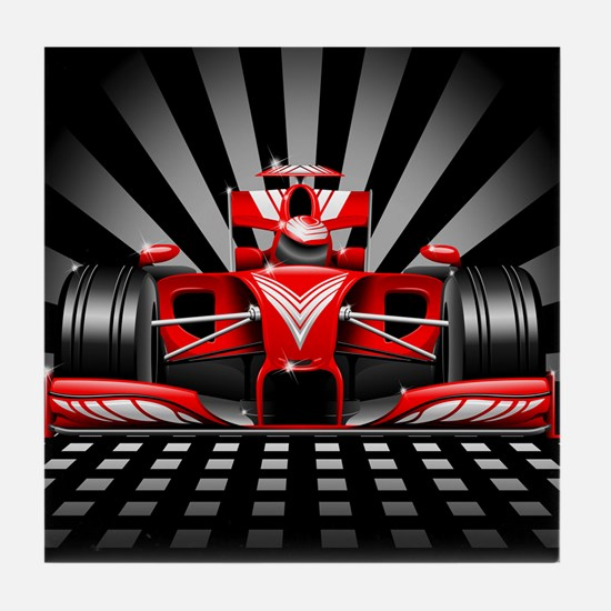 Formula 1 Red Race Car Tile Coaster