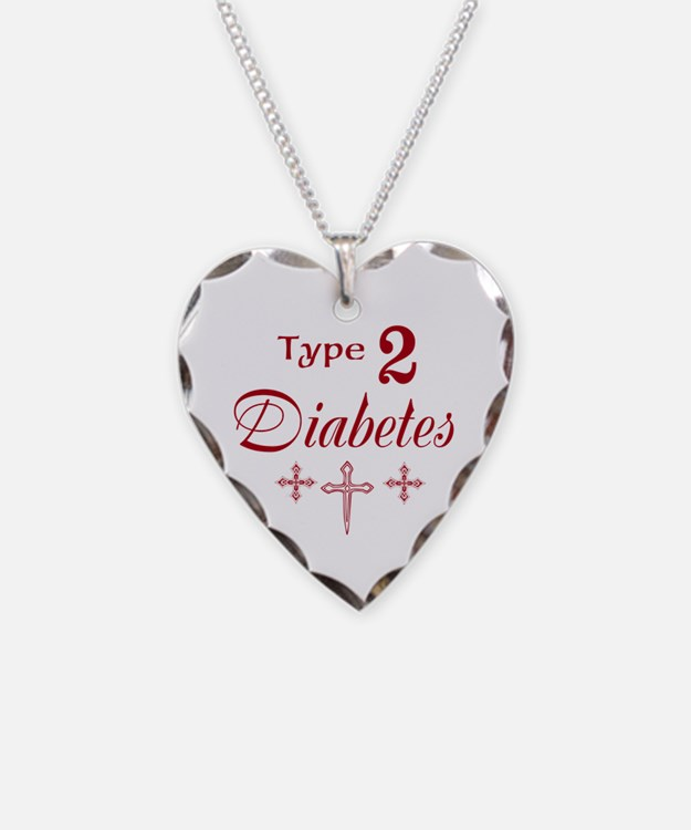 Type 2 Diabetes Necklace Heart Charm