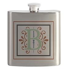 MONOGRAM B GREEN NAVY MAROON Flask