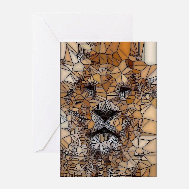 Lion mosaic 001 Greeting Cards
