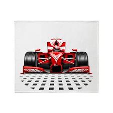Formula 1 Red Race Car Throw Blanket