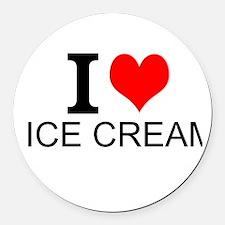 I Love Ice Cream Round Car Magnet