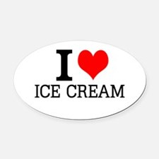 I Love Ice Cream Oval Car Magnet