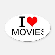 I Love Movies Oval Car Magnet