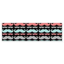 Coral Aqua Grey Mustache Pattern Bumper Bumper Sticker