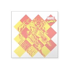 "Iron Man Checkered Square Sticker 3"" x 3"""