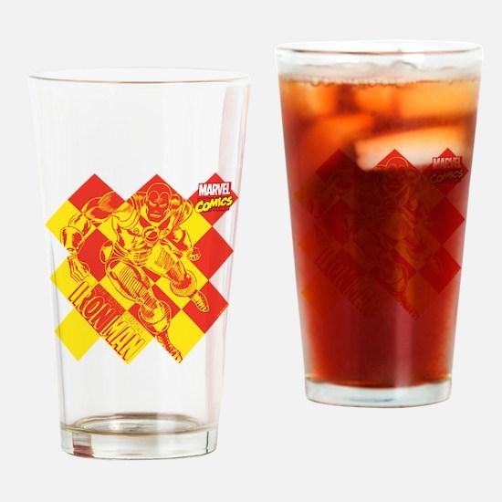 Iron Man Checkered Drinking Glass