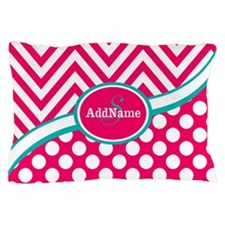 Hot PinkTeal Chevron Dots Monogram Pillow Case