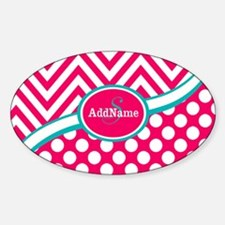 Hot PinkTeal Chevron Dots Monogram Decal