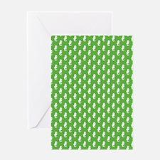 Seahorsepattern_grass Greeting Cards