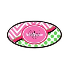 Monogrammed Neon Green Dots Pink Chevron Patches