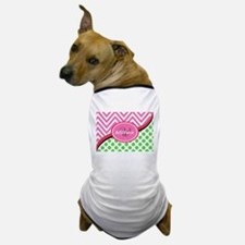 Monogrammed Neon Green Dots Pink Chevr Dog T-Shirt