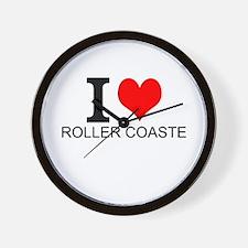 I Love Roller Coasters Wall Clock