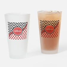 Gray and Coral Chevron Custom Monog Drinking Glass