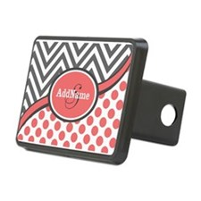 Gray and Coral Chevron Cus Hitch Cover