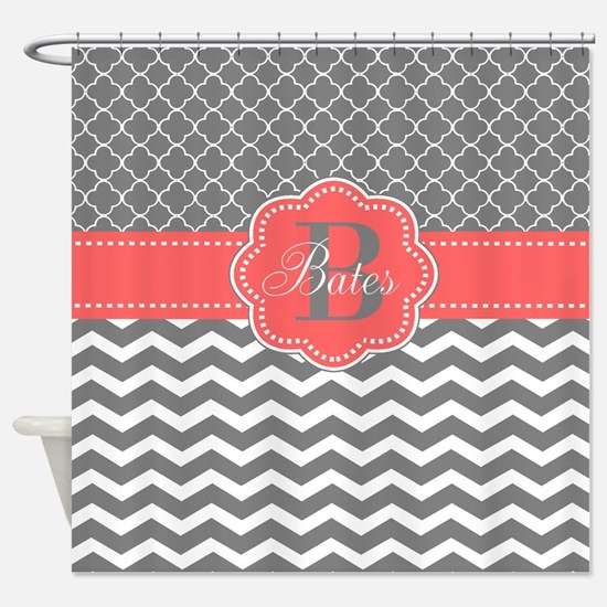 grey and coral shower curtain. Gray Coral Chevron Quatrefoil Personalized Shower Curtains  CafePress