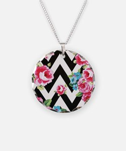 Roses And Chevron Necklace